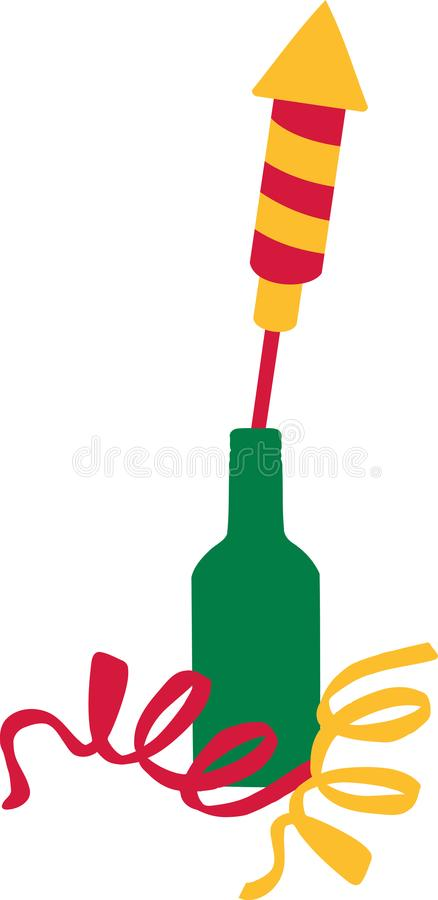 New years eve firework rocket in a bottle stock illustration