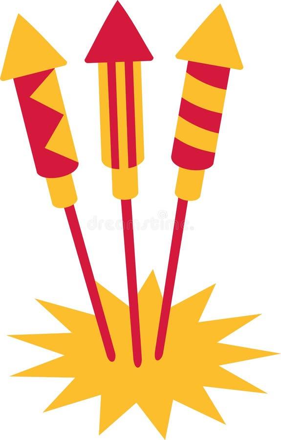 New years eve firework rockets vector illustration