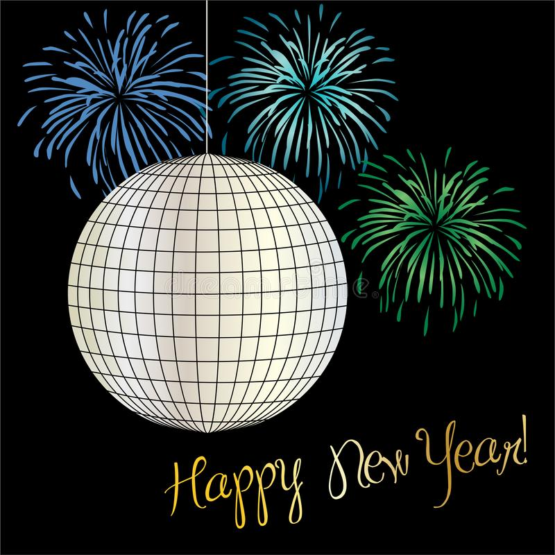 New years eve graphic with disco ball and fireworks stock illustration