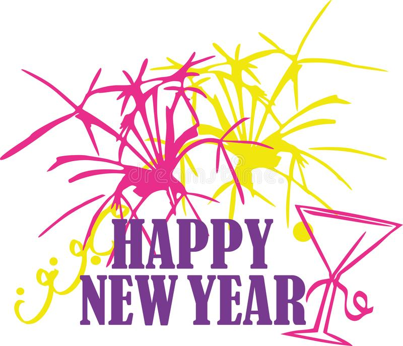 New years eve with happy new year font stock illustration