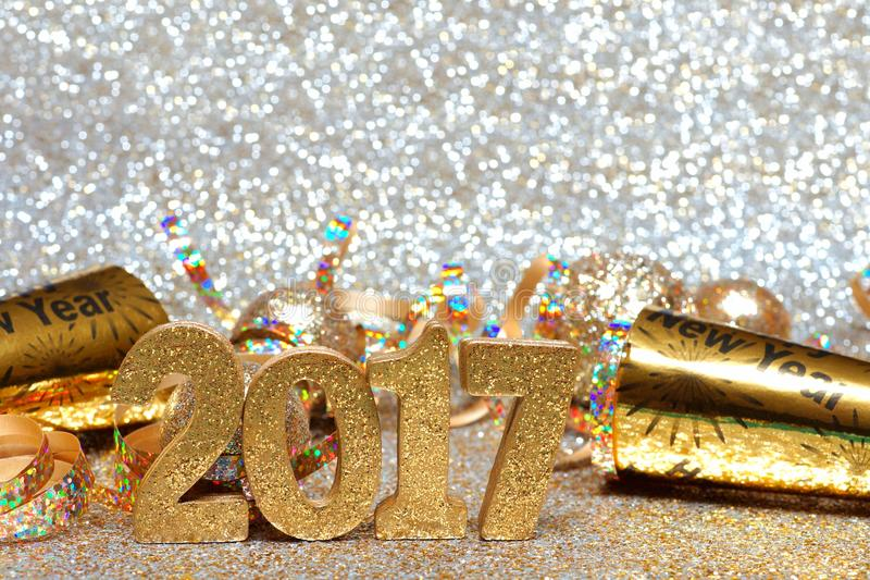 Download New Years Eve 2017 Numbers And Decorations With Twinkling Background Stock Image