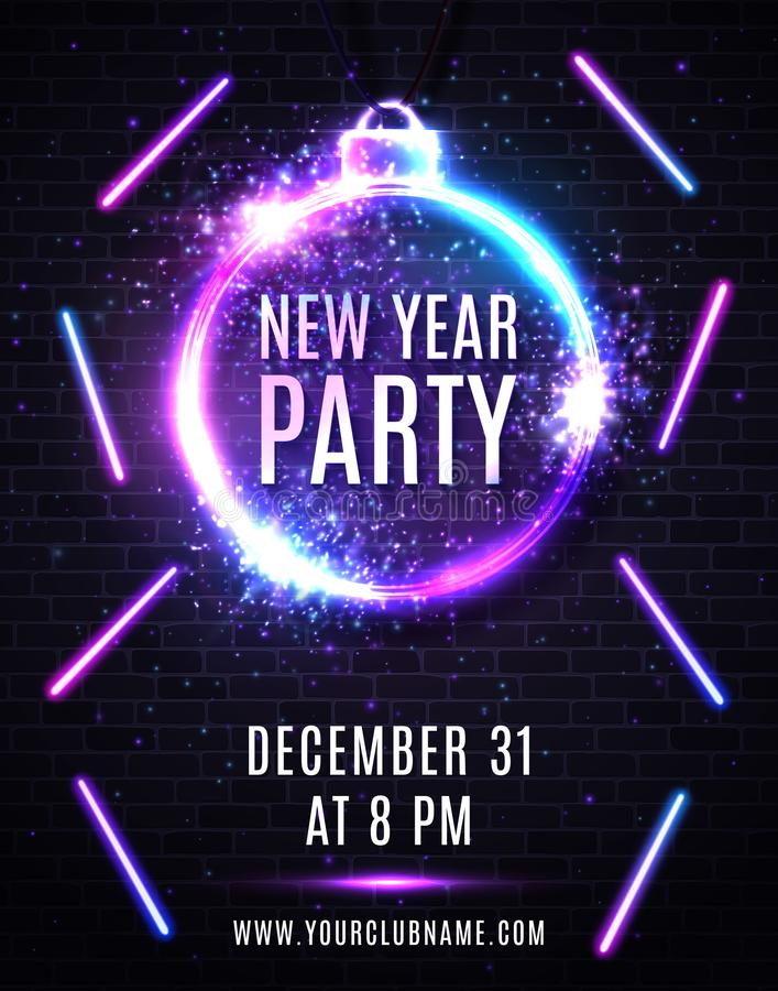 New Years eve party poster. Christmas decoration. New Years eve party poster. Christmas decoration shaped frame. Circle sparkle silver sign with neon text vector illustration