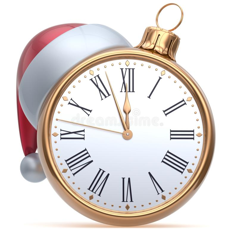 New Years Eve time midnight hour Christmas ball alarm clock. Countdown Santa hat decoration bauble ornament golden. Traditional wintertime happy holidays stock illustration