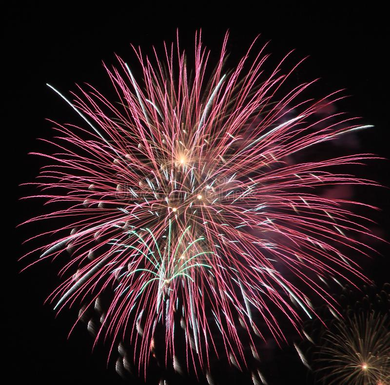New Years huge Fireworks pier park panama city beach florida stock photography