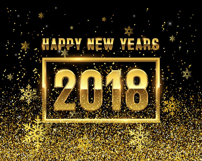 2018 new years with golden snowflakes vector illustration