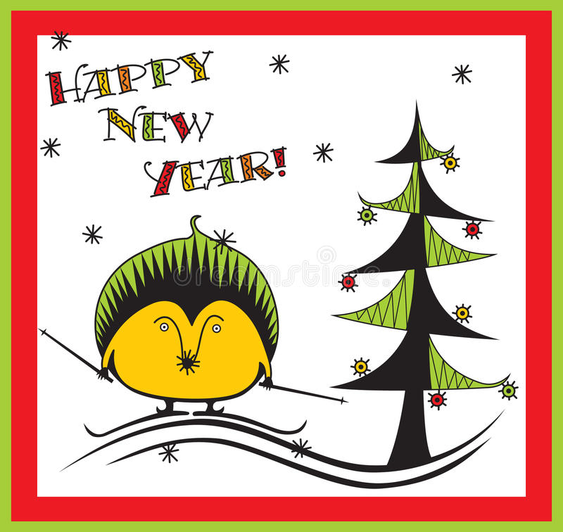 Download New Years hedgehog stock vector. Image of fairy, coloured - 16135682