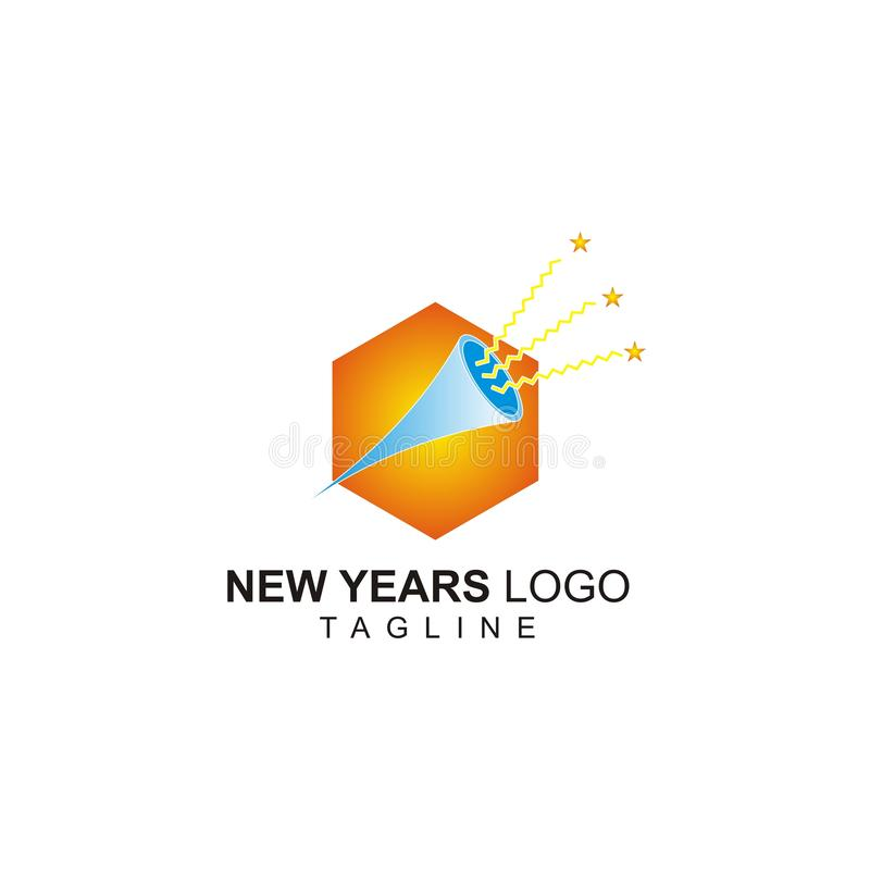 The New years logo with a trumpet concept royalty free illustration