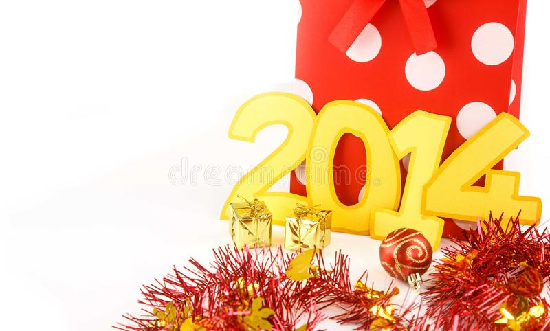 Download New Years 2014 Number  And Shopping Bag Stock Image - Image: 36032849