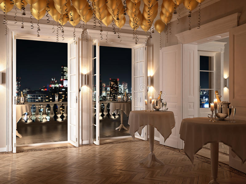 New years party in a luxury apartment. 3d rendering royalty free illustration