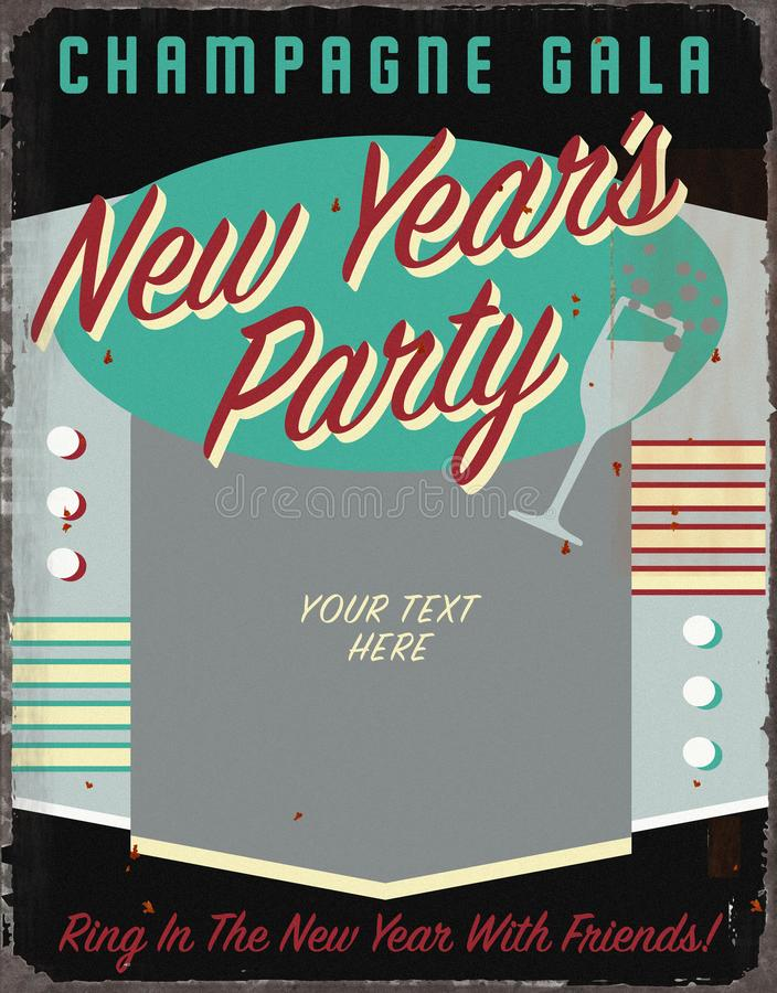 New Years Party Vintage Tin Sign Art Invitation Spell Checker Title Vintage Christmas Holiday Party Invitation Retro Tin Sign Art royalty free illustration