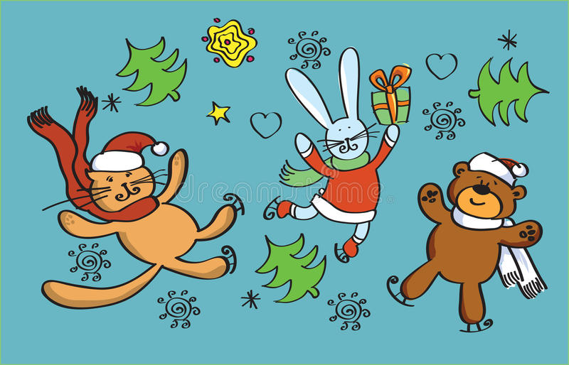 New years personages. Happy new years personages in flight with snow vector illustration