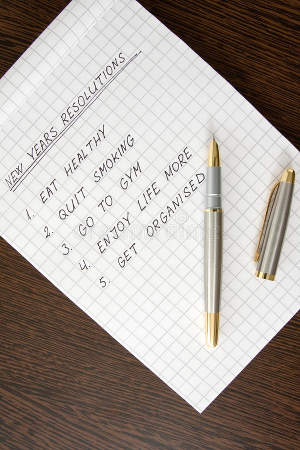 New Years Resolution list royalty free stock image