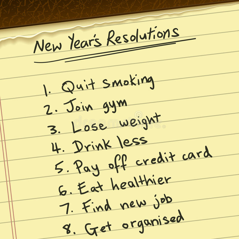 New Years Resolutions. A list of New Years Resolutions written on a yellow notepad. Clipping mask used stock illustration