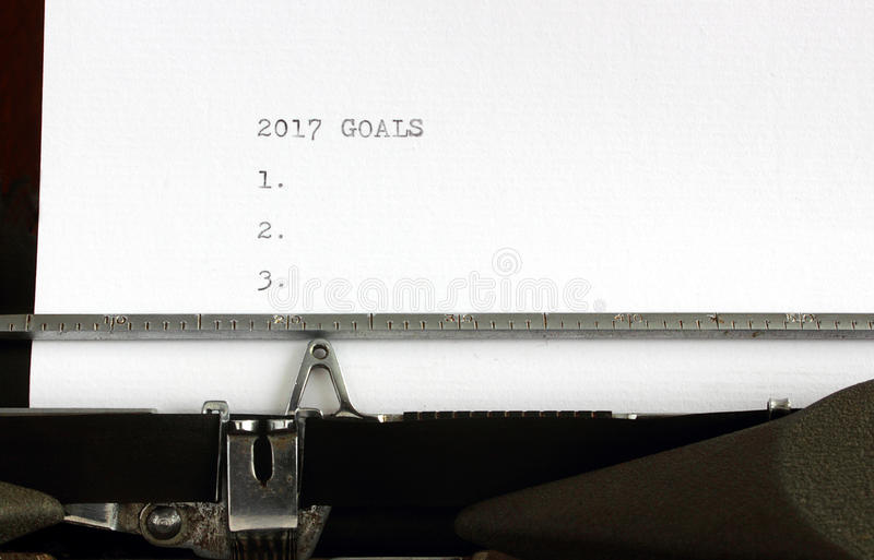 New Years resolutions. 2017 goals listed on vintage typewriter on white paper with lots of room for copy royalty free stock photos