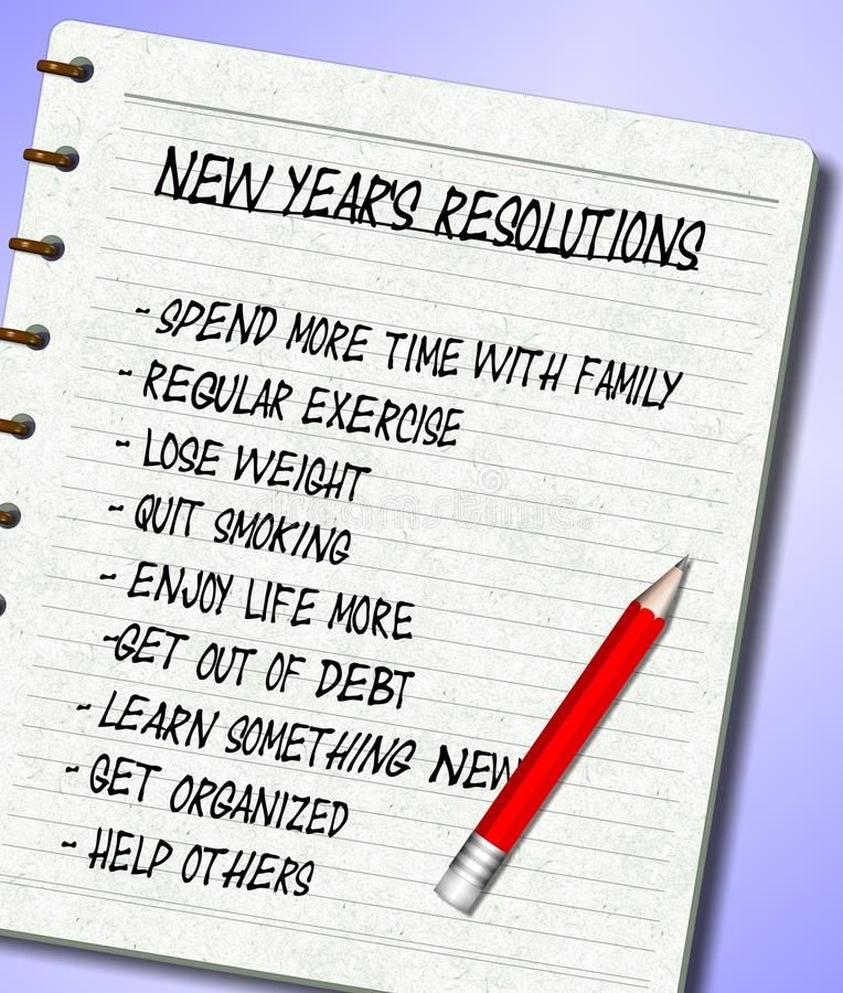 New Years resolutions list. A list of New Year's resolutions written on a note pad