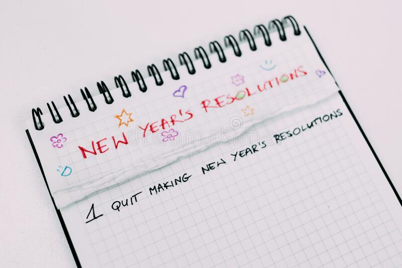 New Years resolutions stock photography