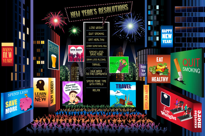 New Years Resolutions stock illustration