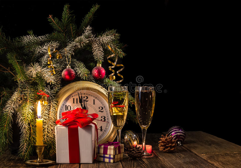 New Years is soon! Candles and gifts. royalty free stock image