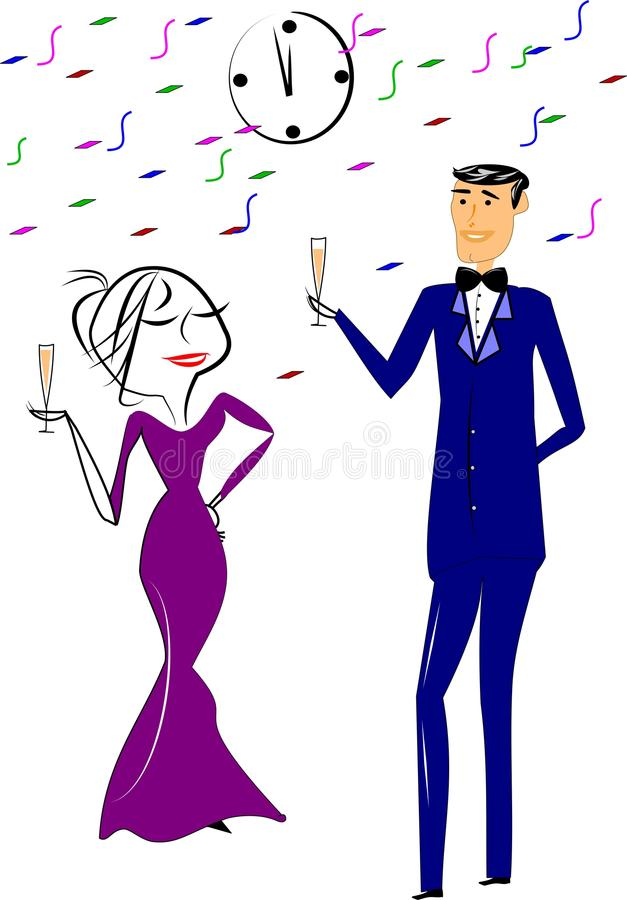 New years toast. Woman in gown and man in tuxedo toasting new years eve at party vector illustration