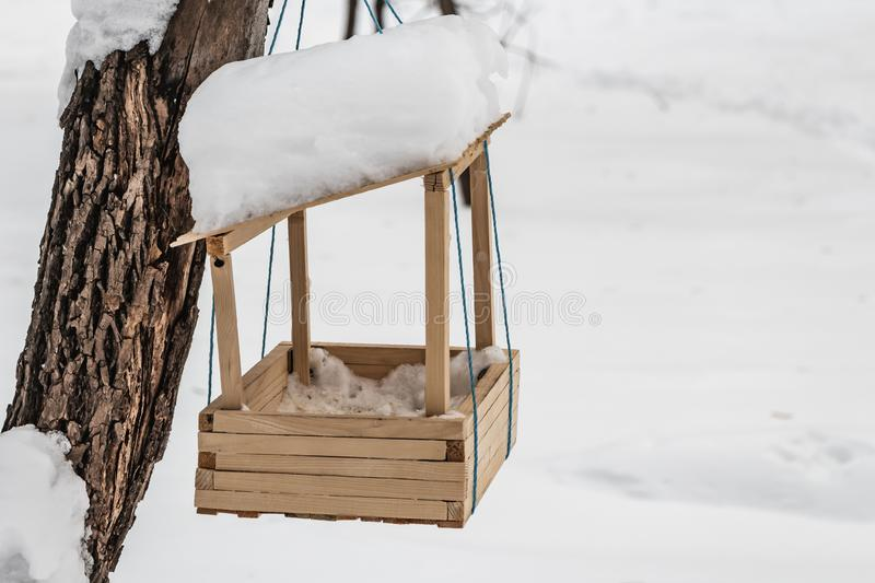 A new yellow bird and squirrel feeder house from plywood with white snow on the roof is hanging on a red rope on a brown. Tree in a park in autumn royalty free stock image