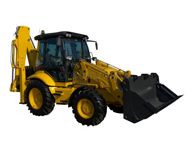 New yellow tractor stock photo