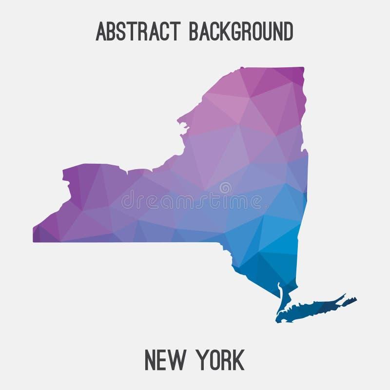 New York översikt i geometriskt polygonal, mosaikstil royaltyfri illustrationer