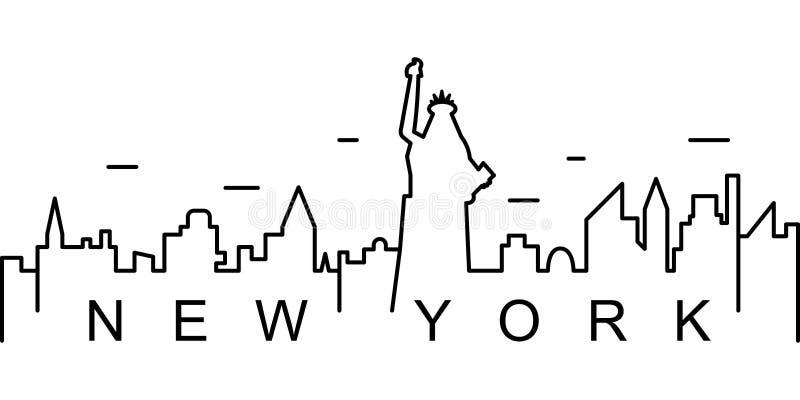 New York översiktssymbol Kan användas för rengöringsduken, logoen, den mobila appen, UI, UX stock illustrationer