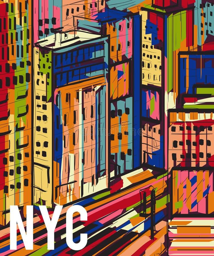 New York Абстрактной красочной нарисованный рукой ландшафт города ночи иллюстрация штока