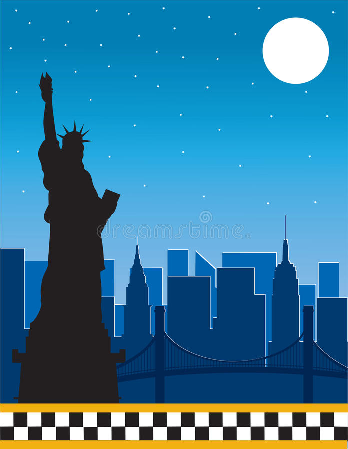 Download New York stock vector. Image of statue, background, taxi - 18838045