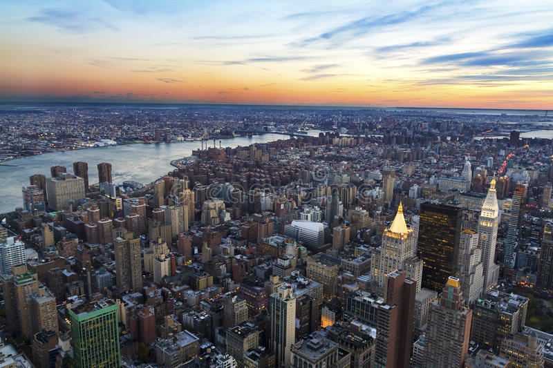 New York. Aerial view of New York city at sunset royalty free stock photo