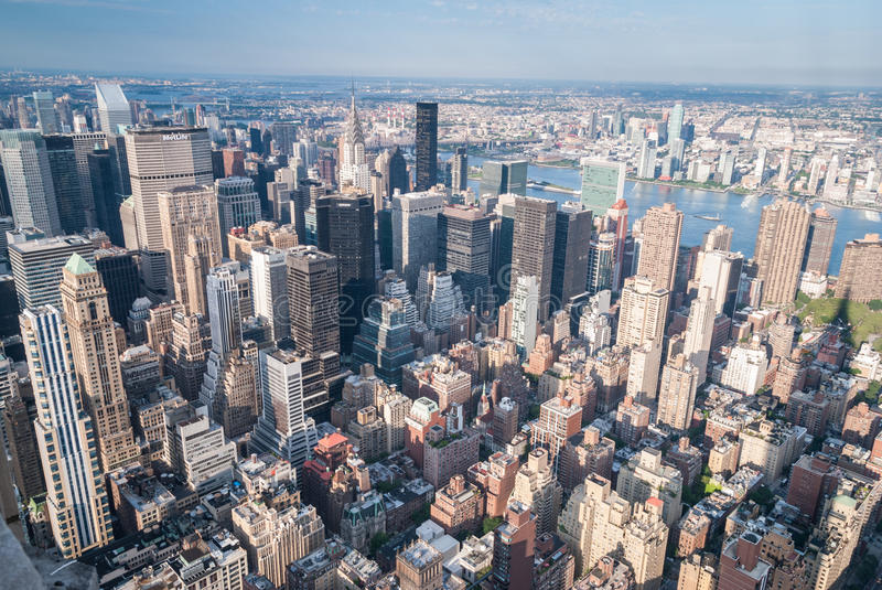 New York aerial. Aerial view of Manhattan skyscrapers stock photography