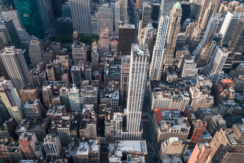 New York aerial. Aerial view of Manhattan skyscrapers stock photos