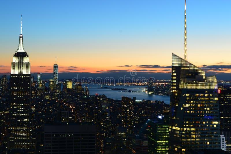 New York alla notte fotografia stock