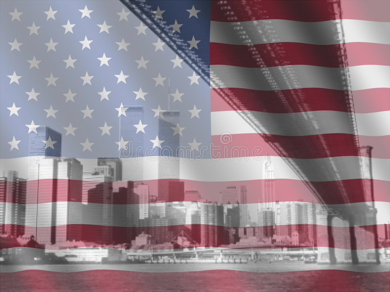 Download New York and American flag stock illustration. Illustration of skyline - 6753223