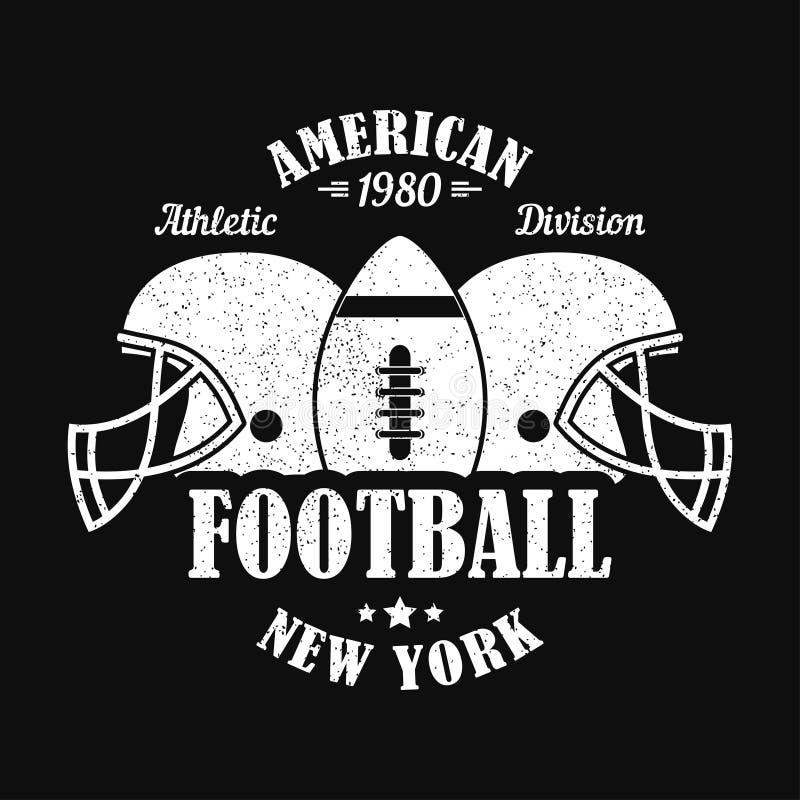 New York, Amerikaanse voetbaldruk voor sportenkleding met helm en bal Typografieembleem voor t-shirt Vector illustratie royalty-vrije illustratie