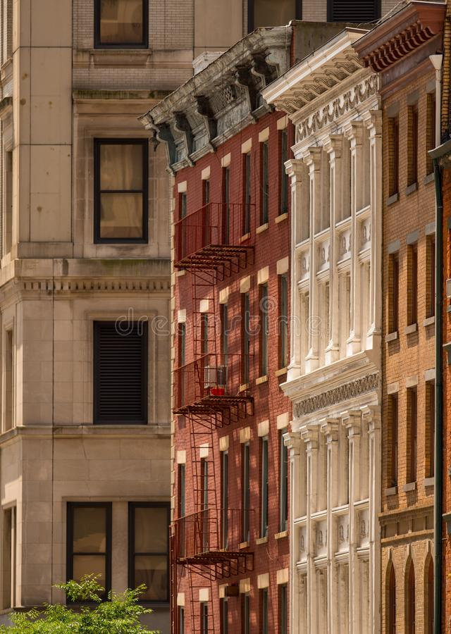 New York apartments with emergency fire escape ladders. USA stock images