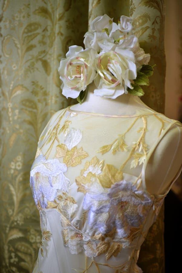 NEW YORK - APRIL 22: A Bridal dress on mannequin for Claire Pettibone bridal presentation stock photos