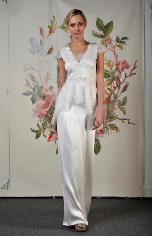 NEW YORK - APRIL 22: A Model poses for Claire Pettibone bridal presentation stock images