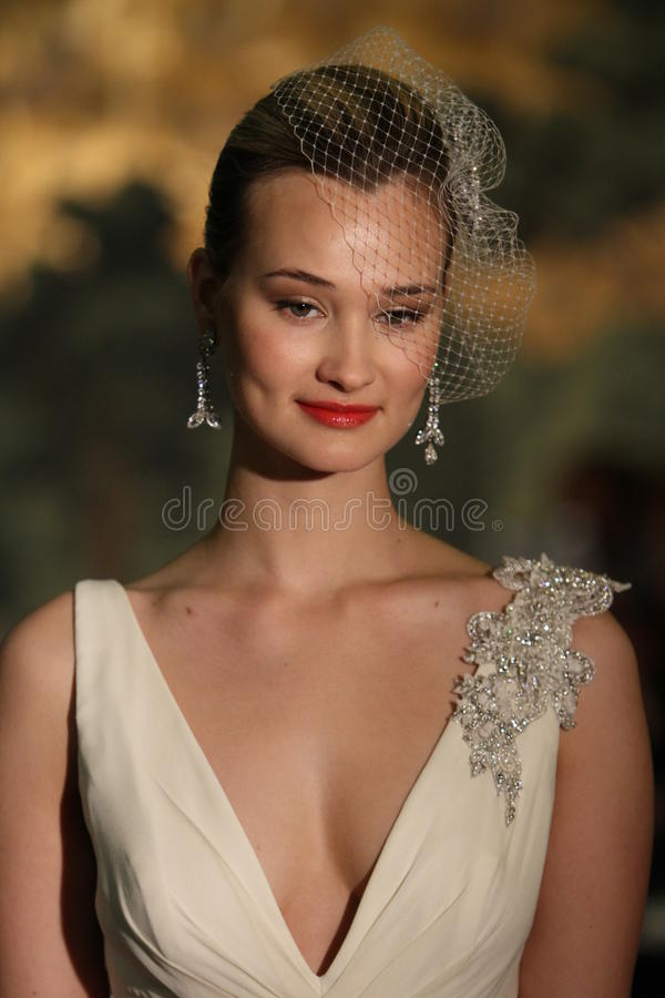 NEW YORK - APRIL 21: A Model walks runway for Anne Barge bridal show stock photography