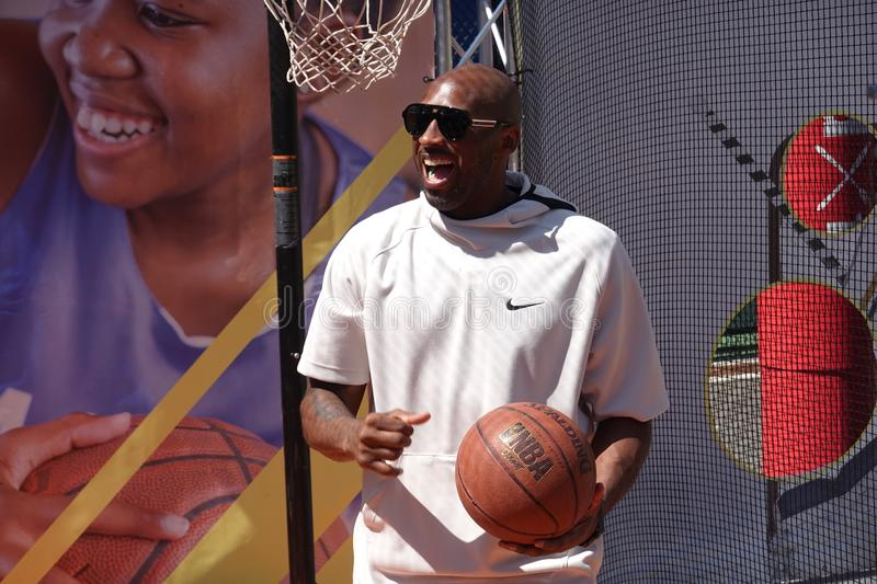 Basketball legend Kobe Bryant visits the 2019 US Open and the Net Generation Kids` Zone at Billie Jean King National Tennis Center. NEW YORK - AUGUST 29, 2019 royalty free stock photo