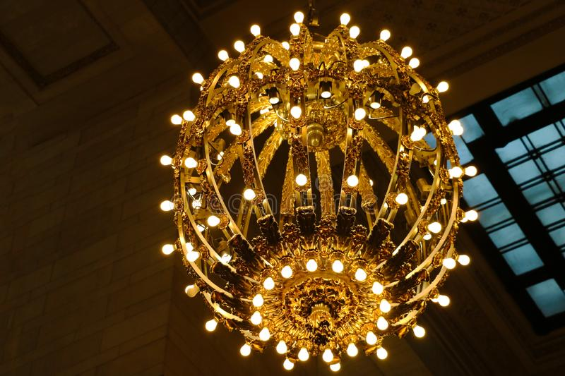 NEW YORK - AUGUST 26, 2018: Chandelier on the ceiling of Grand Central Station royalty free stock photo