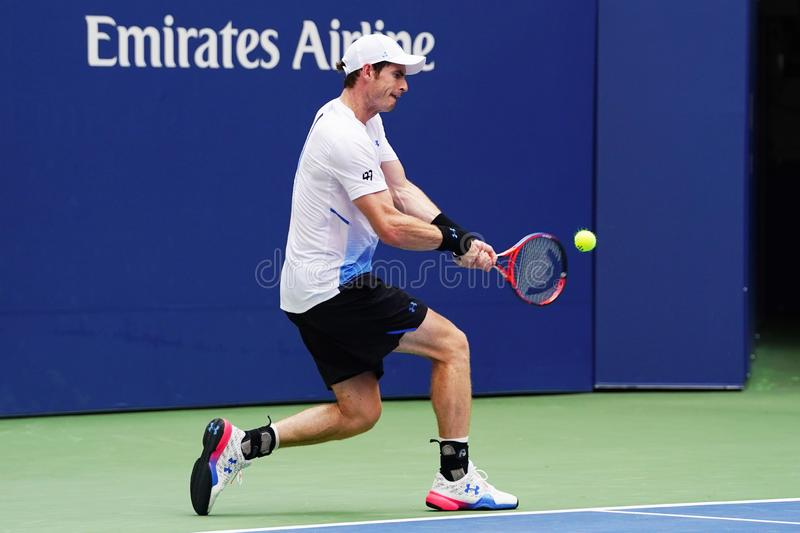 Grand Slam Champion Andy Murray of Great Britain in action during first round match at 2018 US Open at USTA National Tennis Center. NEW YORK - AUGUST 27, 2018 stock image
