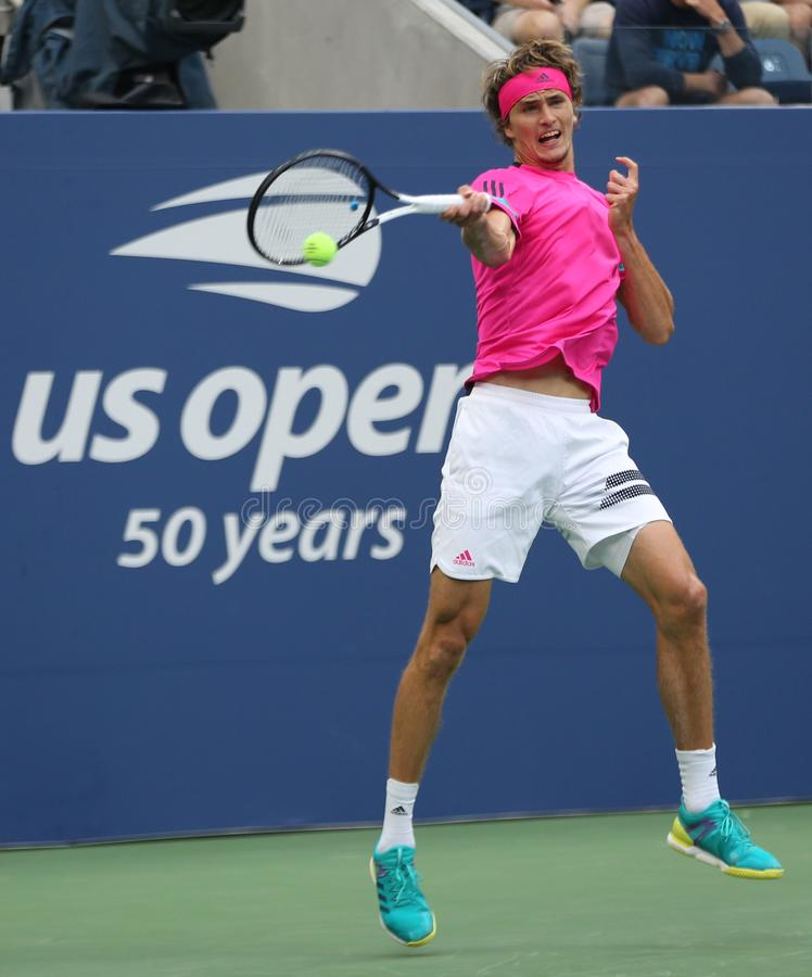 Professional tennis player Alexander Zverev of Germany in practice for 2018 US Open at Billie Jean King National Tennis Center. NEW YORK - AUGUST 21, 2018 royalty free stock images