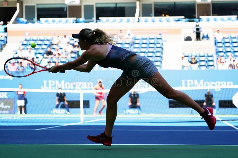 Professional tennis player Elina Svitolina of Ukraine in action during her US Open 2017 second round match royalty free stock photos