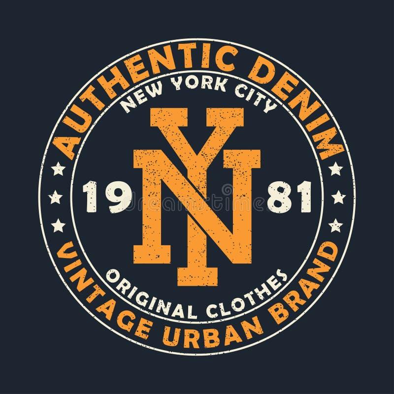 New York authentic denim, vintage urban brand graphic for t-shirt. Original clothes design with grunge. Retro apparel print. stock illustration