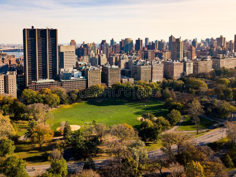 New york autumn landscape in Central park aerial. Photo stock image