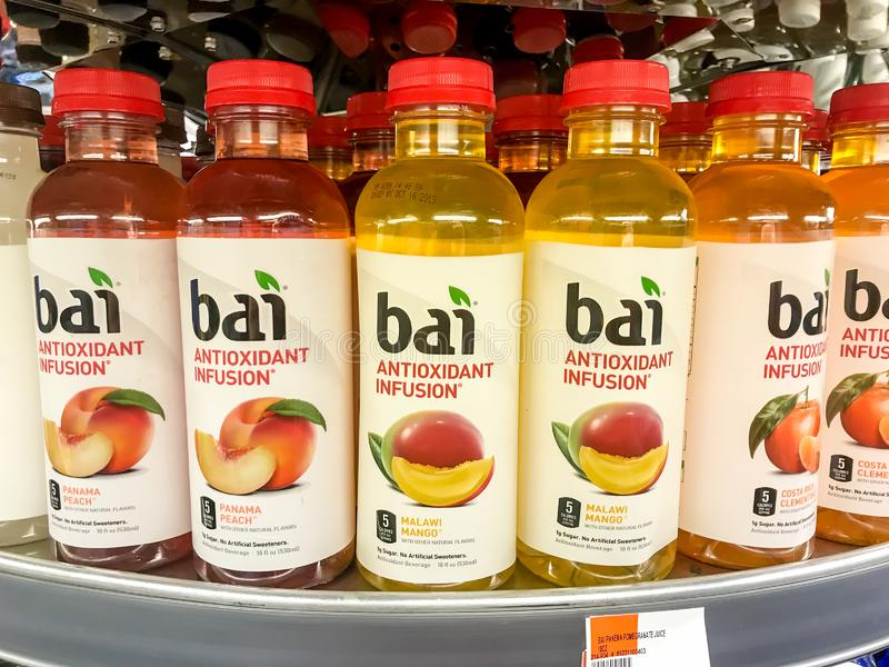 Bai antioxidant infusion drinks. New York, 2/14/2019: Bai antioxidant infusion drinks stand on a shelf in a drug store stock image