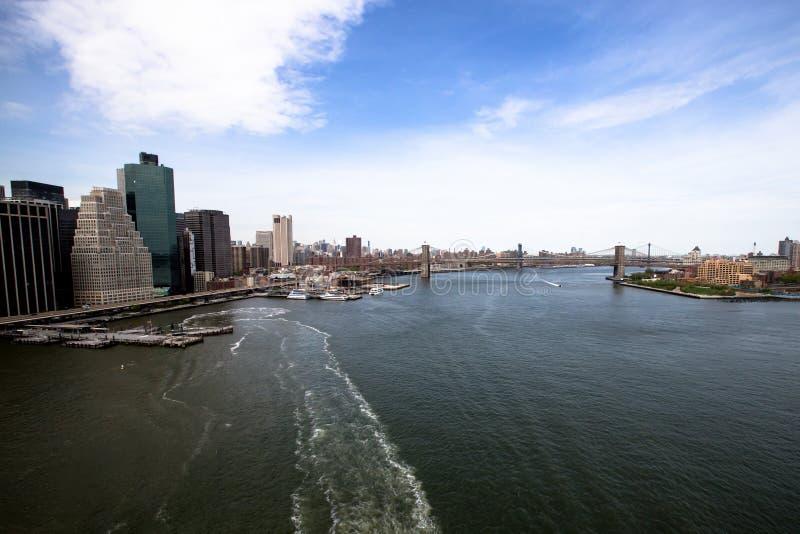 New York Bedöva helikoptersikt av lägre Manhattan arkivfoto