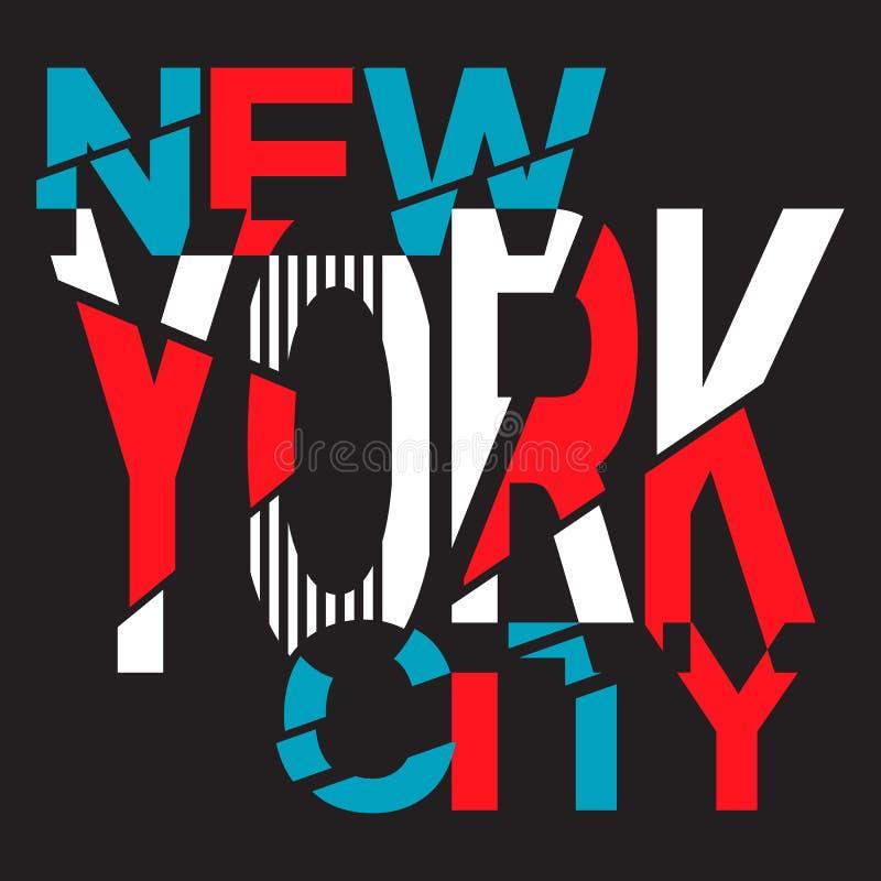 New York Beschaffung für das Design eines T-Shirts, Fahne, lizenzfreie abbildung