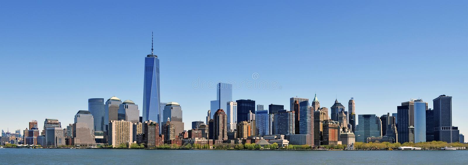 New York, the best wide panorama available with Hudson river stock photo